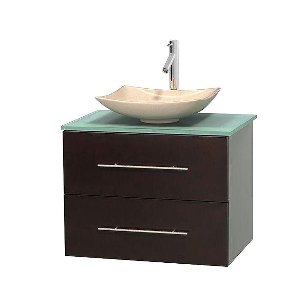 Wyndham Collection Centra 30-inch W 1-Drawer 1-Door Wall Mounted Vanity in Brown With Top in Green