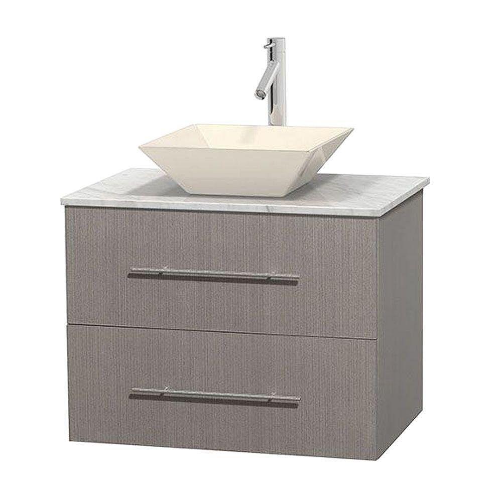 Wyndham Collection Meuble unique Centra 30 po. chêne gris, comptoir blanc Carrare, lavabo porcelaine bone sans miroir
