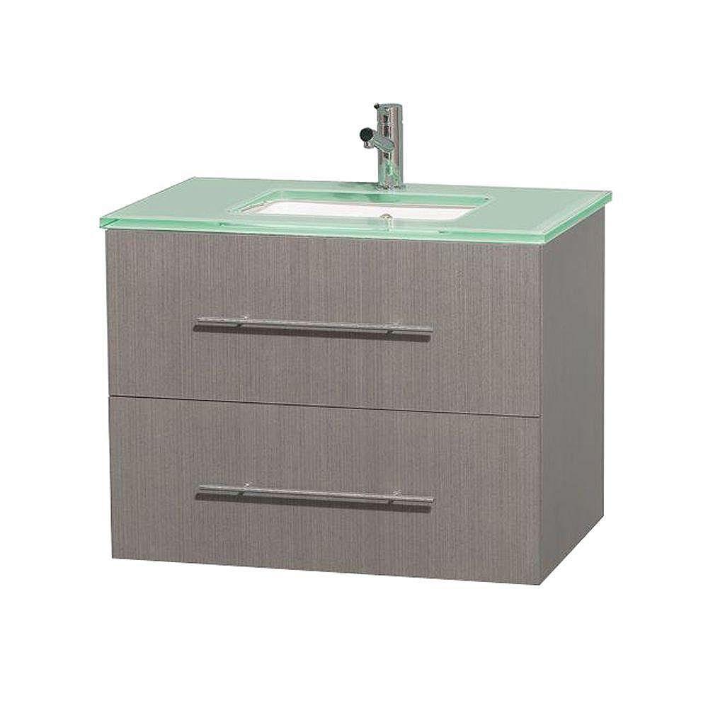 Wyndham Collection Meuble unique Centra 30 po. chêne gris, comptoir verre vert, lavabo carré sans miroir
