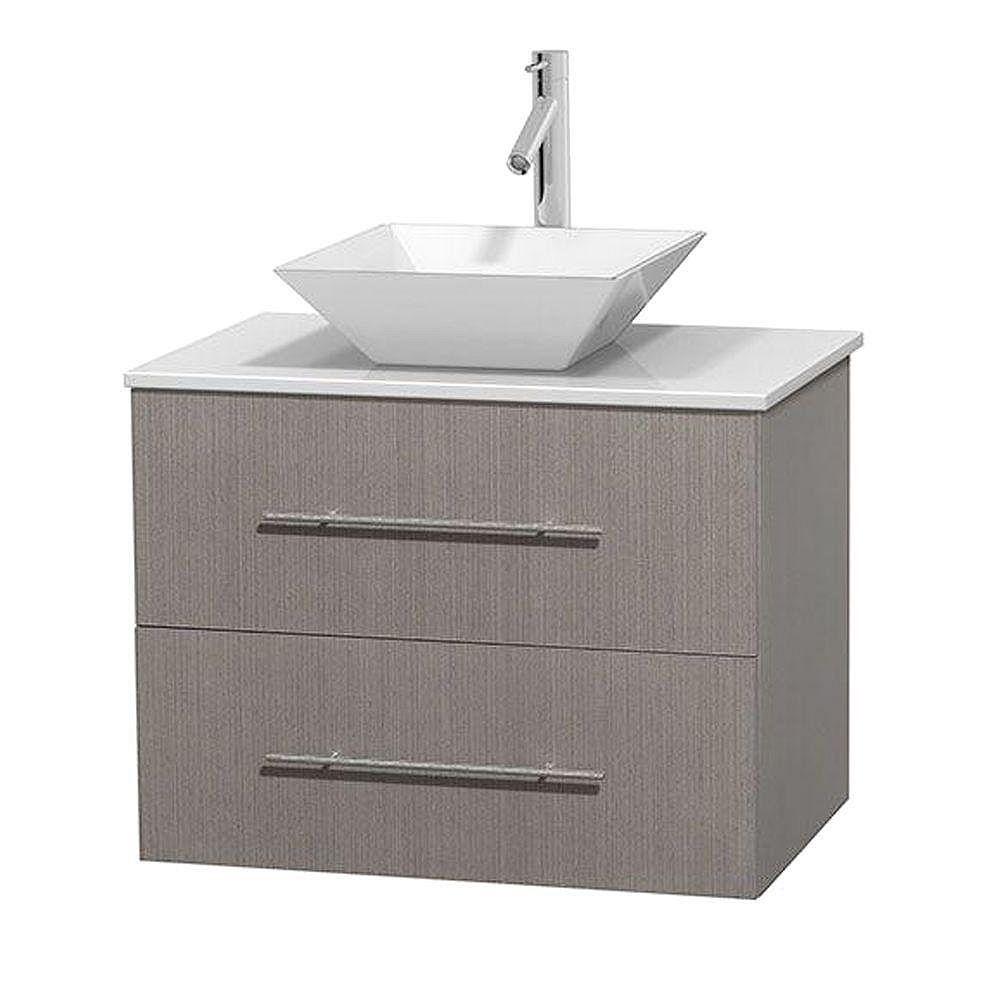 Wyndham Collection Meuble unique Centra 30 po. chêne gris, comptoir solide, lavabo porcelaine blanche sans miroir