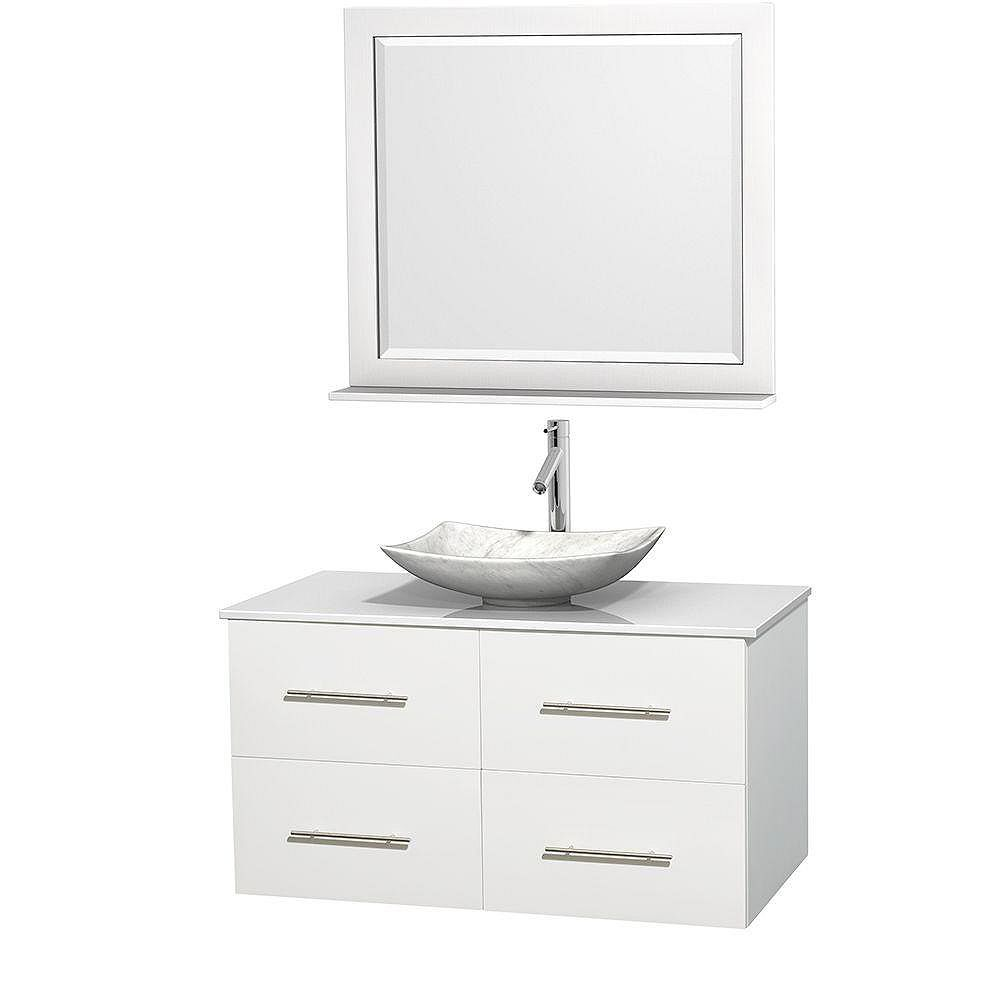 Wyndham Collection Meuble simple Centra 42 po. blanc, comptoir solide, lavabo blanc Carrare, miroir 36 po.