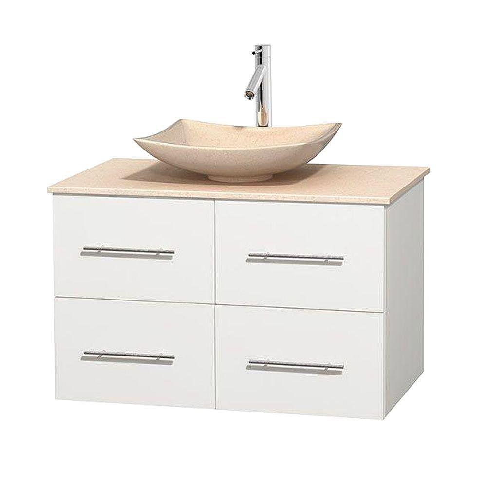 Wyndham Collection Meuble simple Centra 36 po. blanc, comptoir marbre ivoire, lavabo ivoire, sans miroir