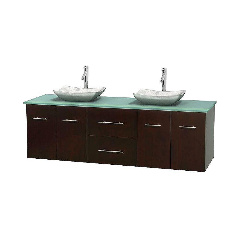 Wyndham Collection Meuble double Centra 72 po. espresso, comptoir verre vert, lavabos blanc Carrare, sans miroir
