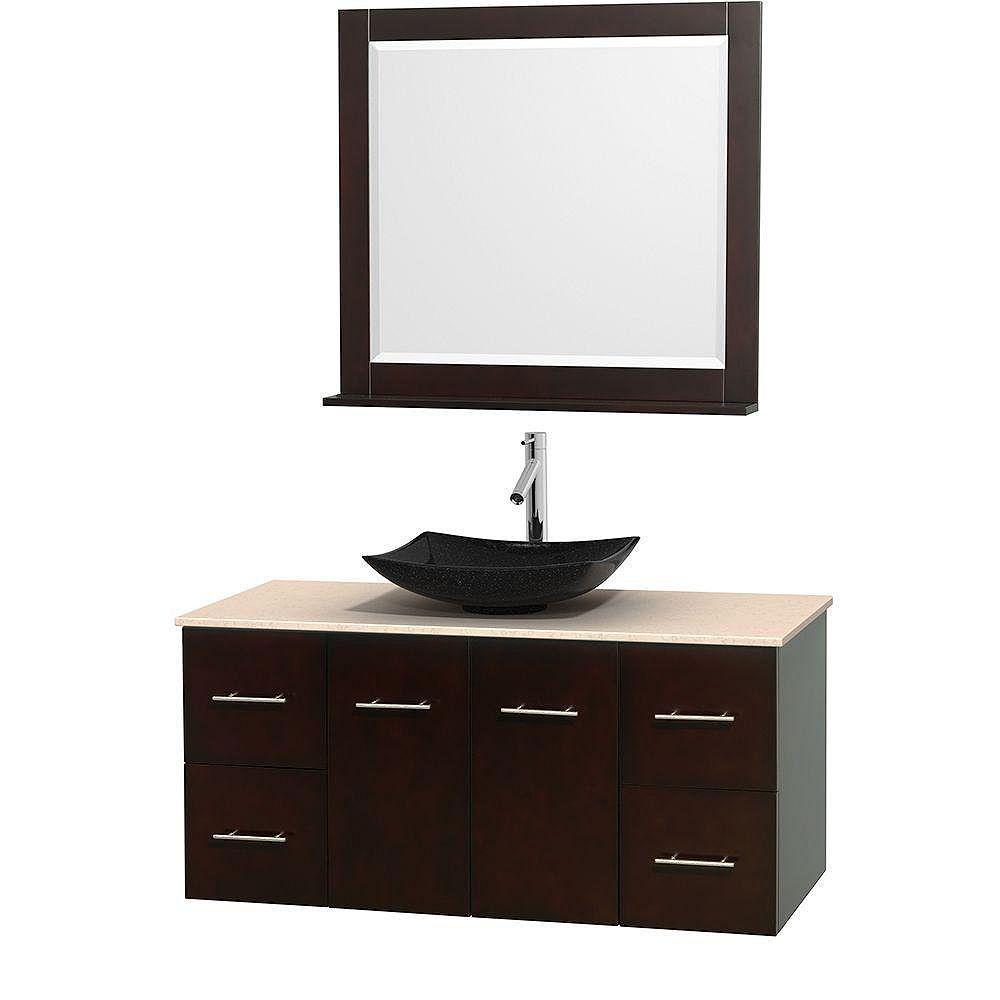 Wyndham Collection Meuble simple Centra 48 po. espresso, comptoir marbre ivoire, lavabo granit noir, miroir 36 po.