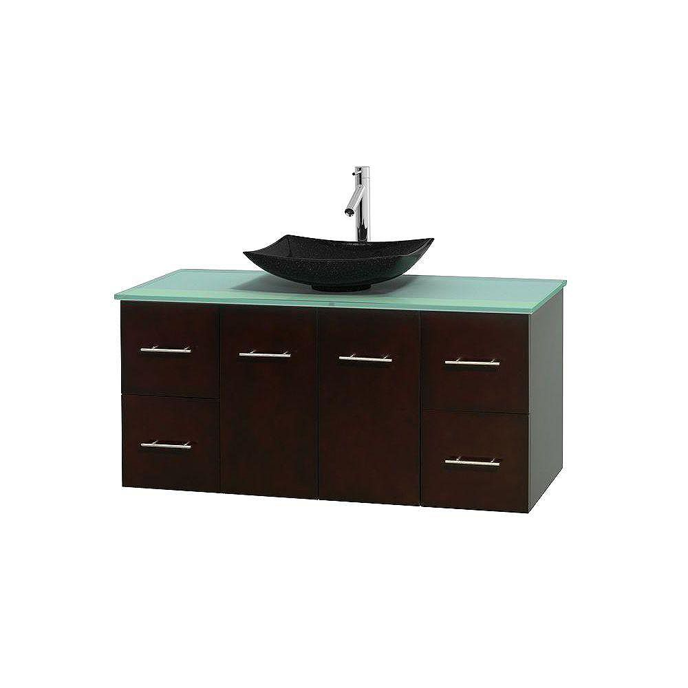 Wyndham Collection Centra 48-inch W 4-Drawer 2-Door Wall Mounted Vanity in Brown With Top in Green