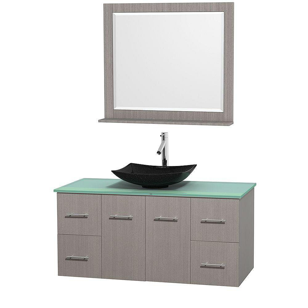 Wyndham Collection Centra 48-inch W 4-Drawer 2-Door Wall Mounted Vanity in Grey With Top in Green With Mirror