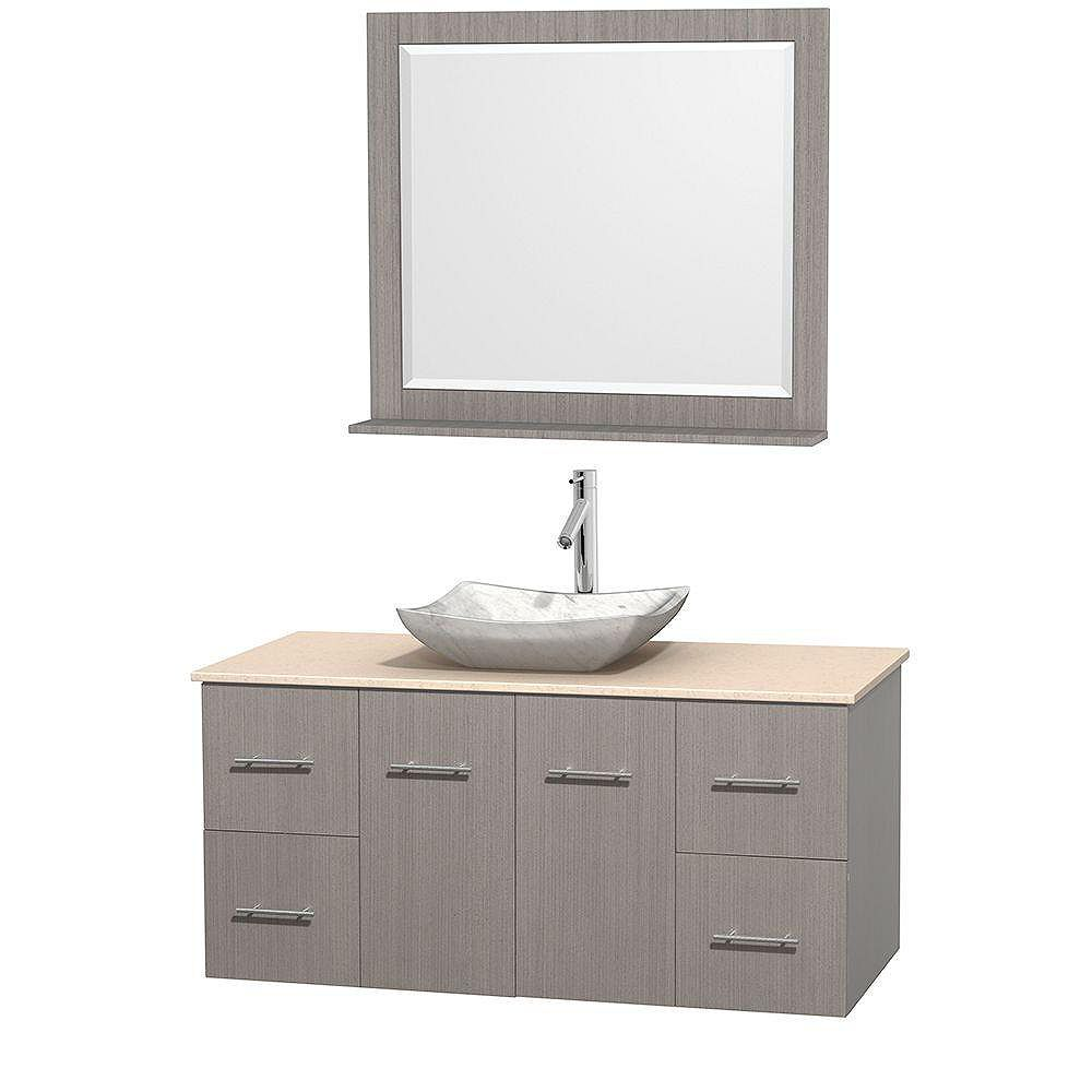 Wyndham Collection Meuble simple Centra 48 po. chêne gris, comptoir marbre ivoire, lavabo blanc Carrare, miroir 36 po.
