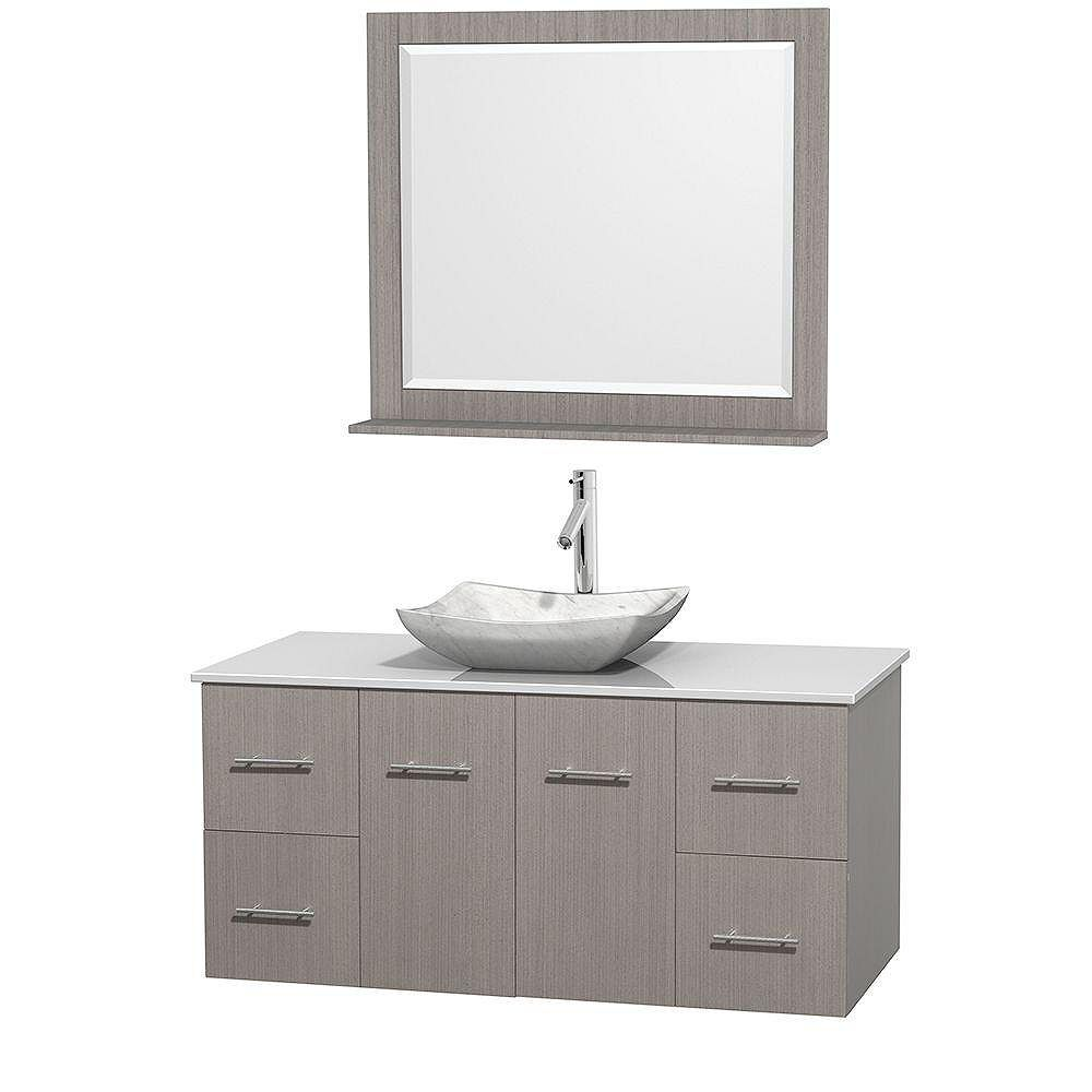 Wyndham Collection Centra 48-inch W 4-Drawer 2-Door Wall Mounted Vanity in Grey With Artificial Stone Top in White