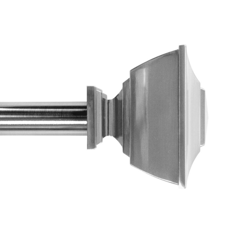 Home Decorators Collection 36-inch to 72-inch 1-inch Curtain Rod Kit in Brushed Nickel with Classic Square Finial