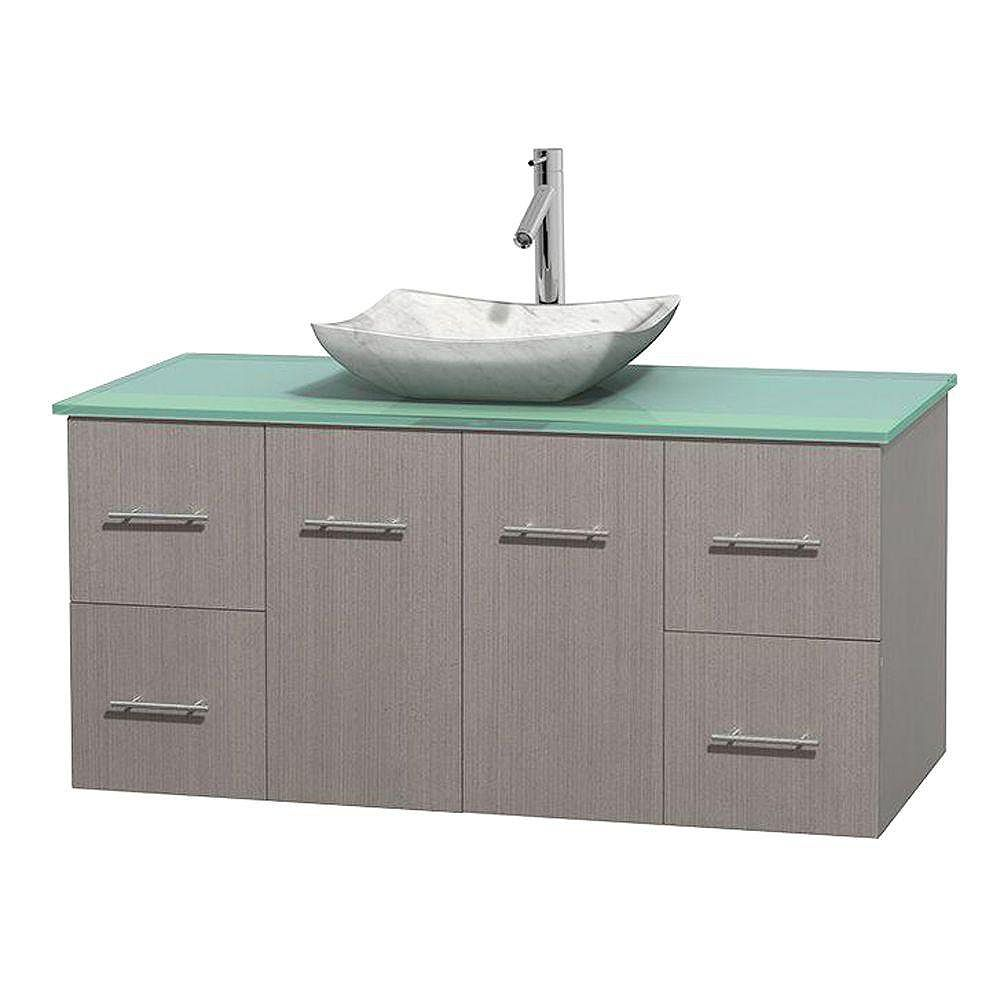 Wyndham Collection Centra 48-inch W 4-Drawer 2-Door Wall Mounted Vanity in Grey With Top in Green