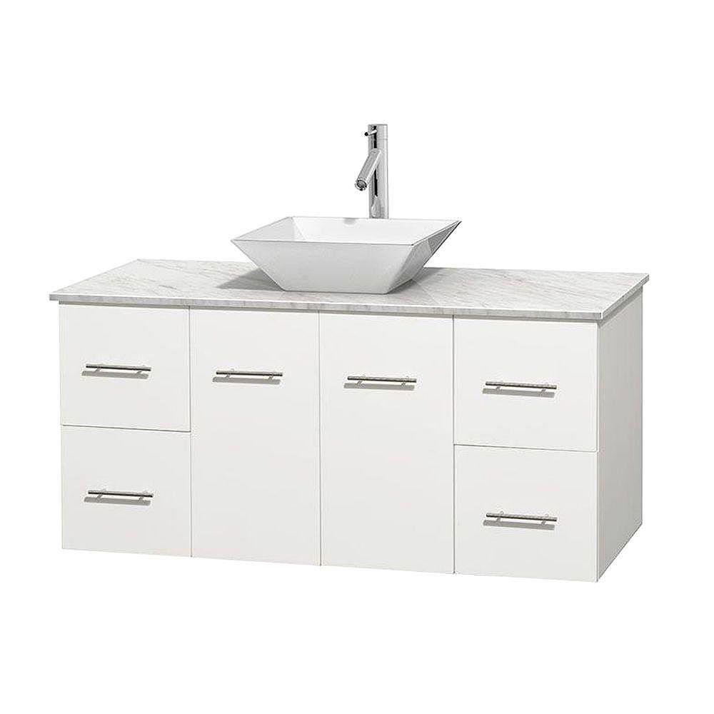 Wyndham Collection Centra 48-inch W 4-Drawer 2-Door Wall Mounted Vanity in White With Marble Top in White
