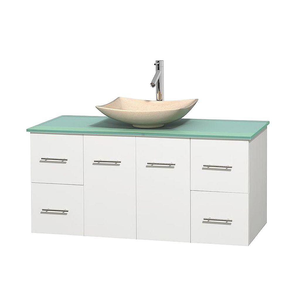 Wyndham Collection Centra 48-inch W 4-Drawer 2-Door Wall Mounted Vanity in White With Top in Green