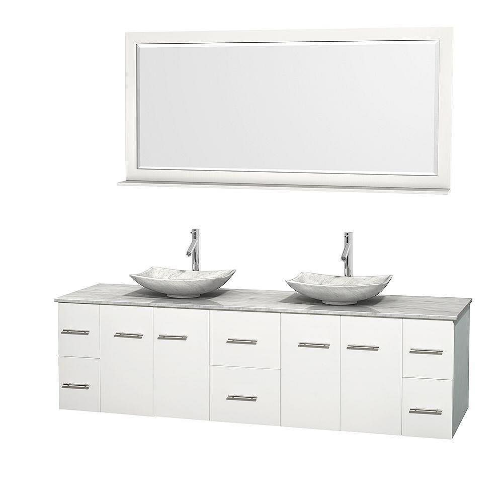 Wyndham Collection Centra 80-inch W 6-Drawer 4-Door Wall Mounted Vanity in White With Marble Top in White, 2 Basins