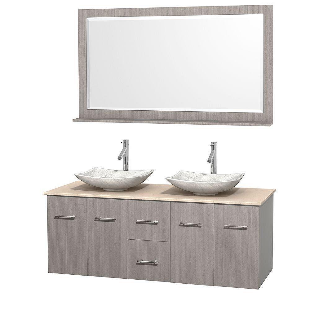 Wyndham Collection Meuble double Centra 60 po. chêne gris, comptoir marbre ivoire, lavabos blanc Carrare, miroir 58 po.