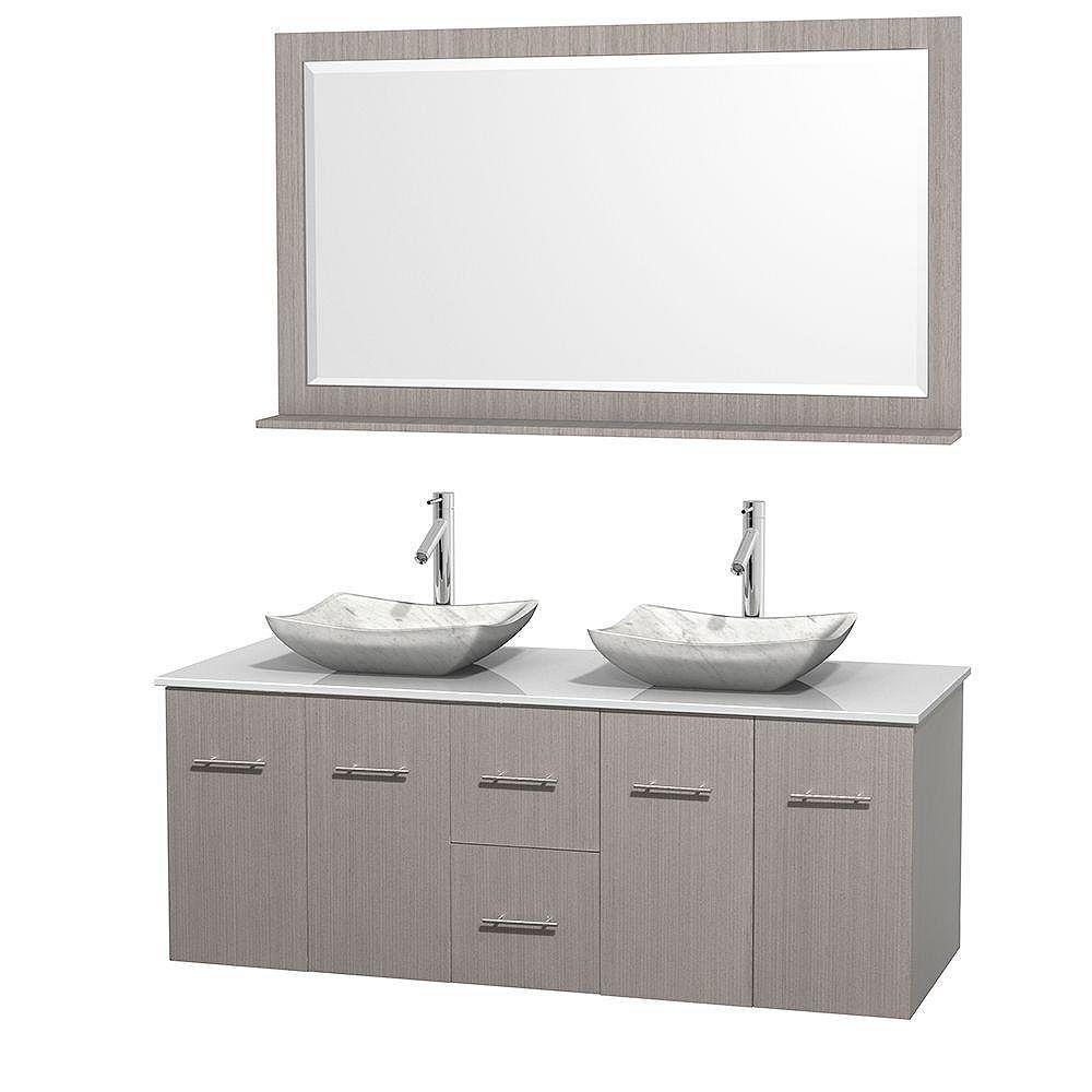 Wyndham Collection Meuble double Centra 60 po. chêne gris, comptoir solide, lavabos blanc Carrare, miroir 58 po.