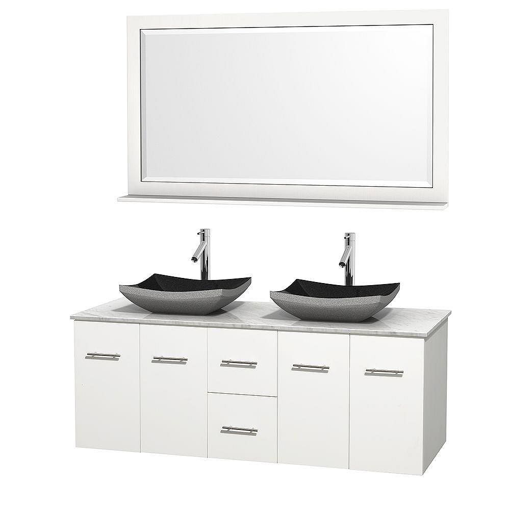 Wyndham Collection Centra 60-inch W 2-Drawer 4-Door Wall Mounted Vanity in White With Marble Top in White, 2 Basins