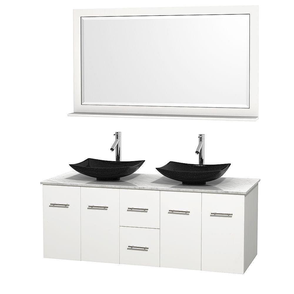 Wyndham Collection Meuble double Centra 60 po. blanc, comptoir blanc Carrare, lavabos granit noir, miroir 58 po.