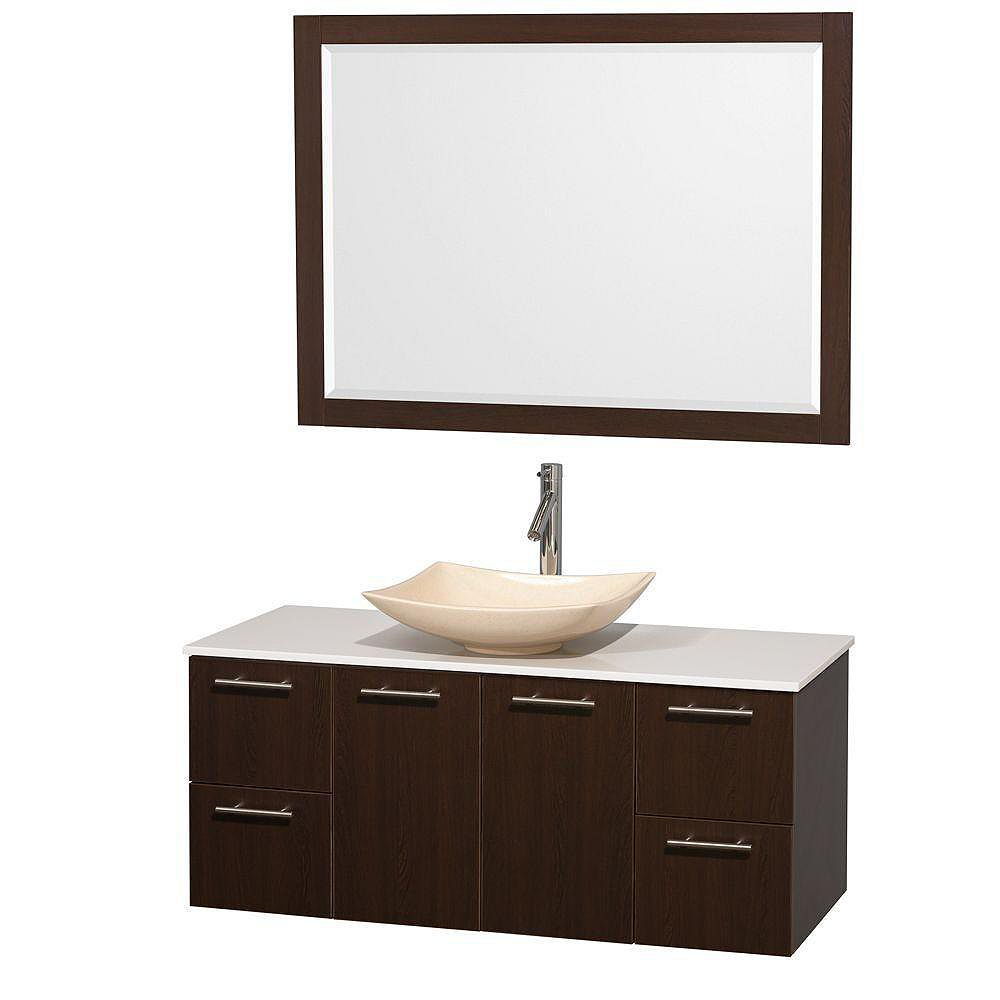 Wyndham Collection Amare 48-inch W 2-Drawer 2-Door Wall Mounted Vanity in Brown With Artificial Stone Top in White