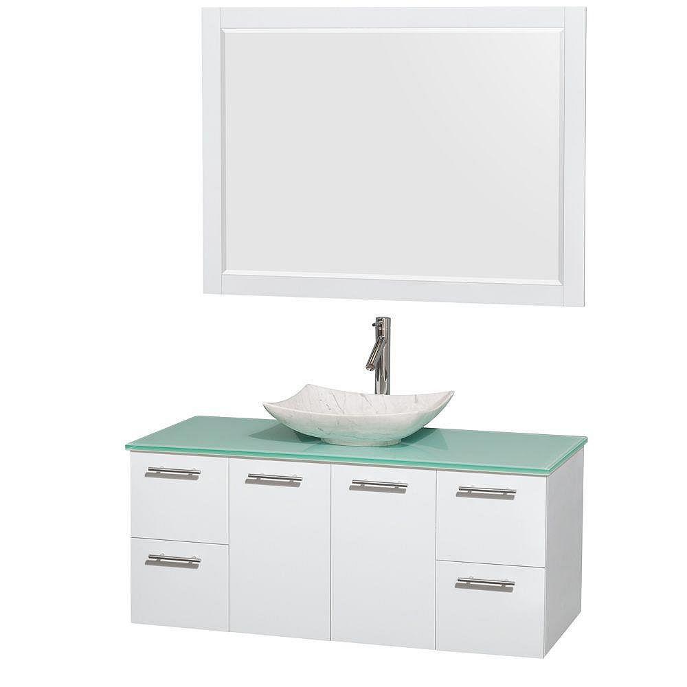 Wyndham Collection Amare 48 po Meuble laqué blanc et revêtement en verre effet eau et évier en marbre de Carrare