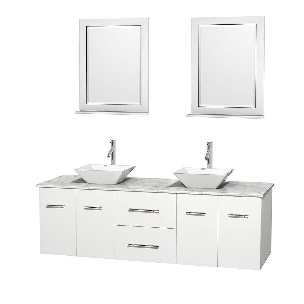 Wyndham Collection Centra 72-inch W 2-Drawer 4-Door Wall Mounted Vanity in White With Marble Top in White, 2 Basins