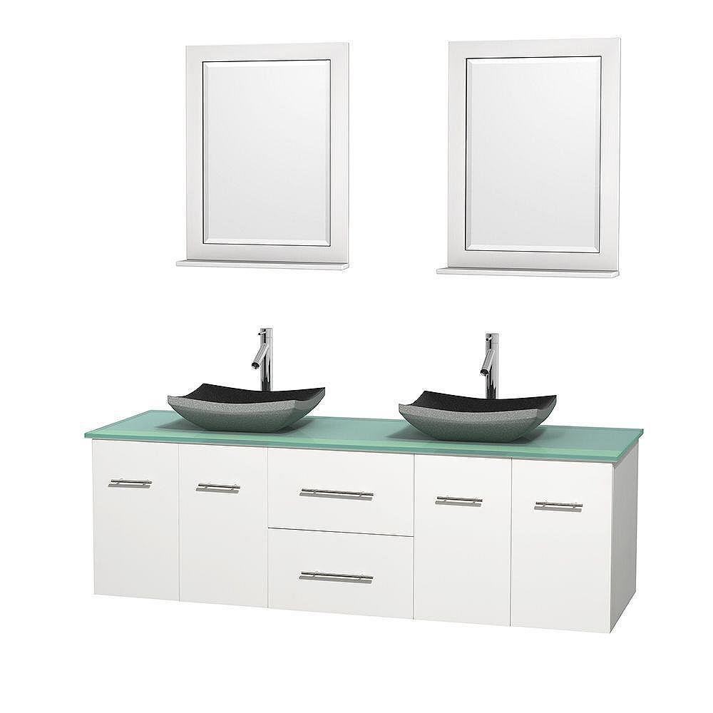 Wyndham Collection Meuble double Centra 72 po. blanc, comptoir verre vert, lavabos granit noir, miroirs 24 po.