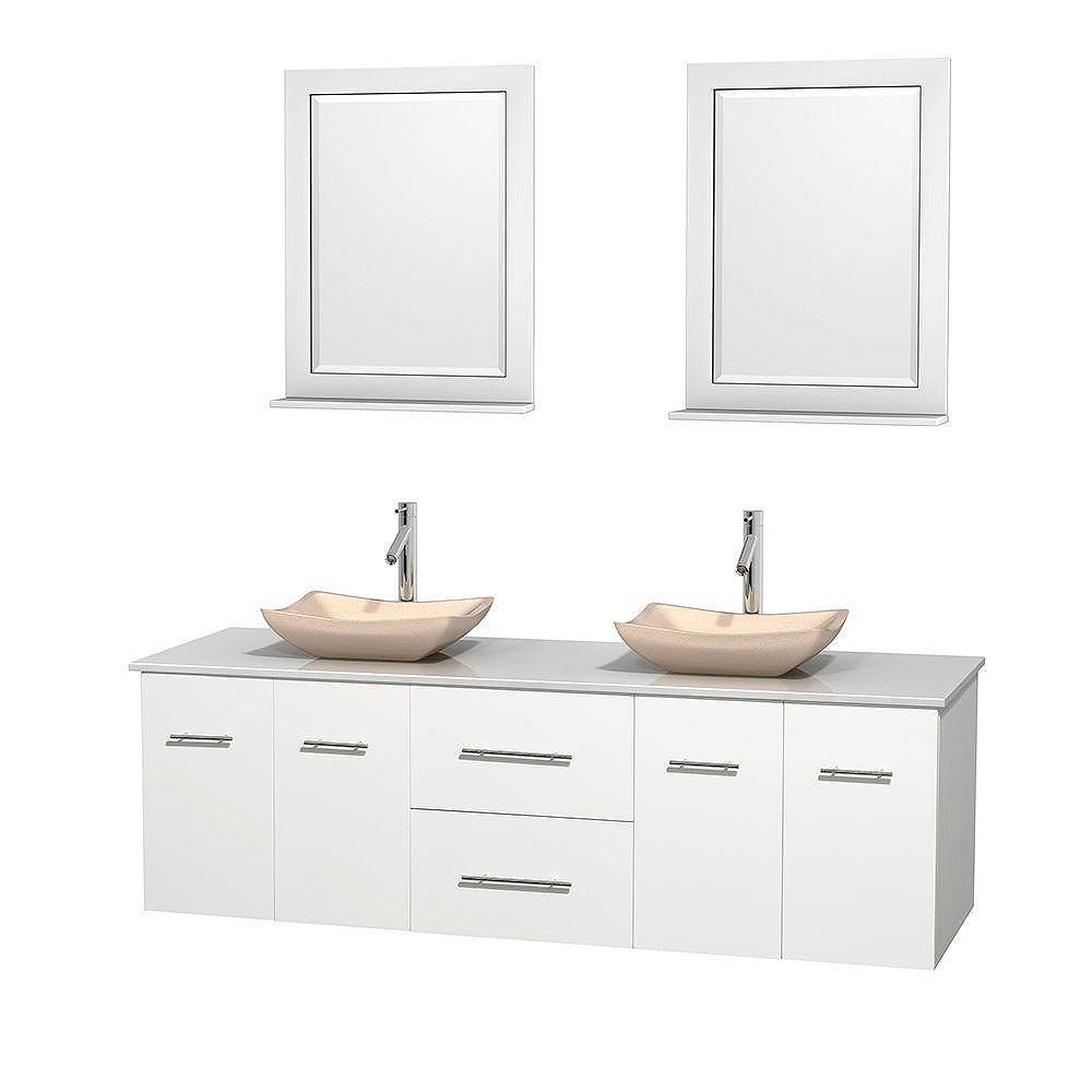Wyndham Collection Meuble double Centra 72 po. blanc, comptoir solide, lavabos ivoire, miroirs 24 po.
