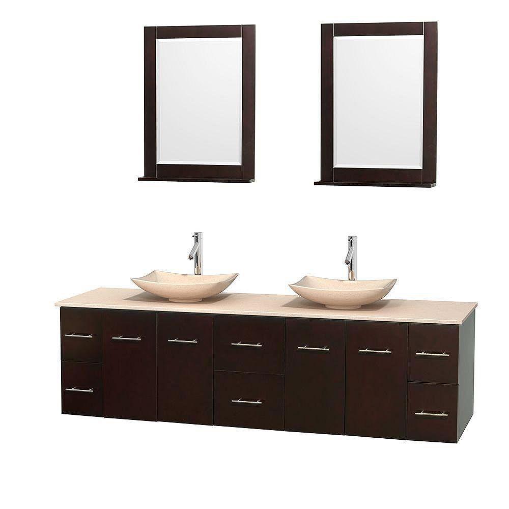 Wyndham Collection Meuble double Centra 80 po. espresso, comptoir marbre ivoire, lavabos ivoire, miroirs 24 po.
