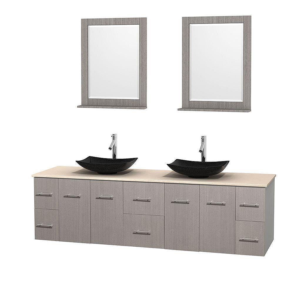 Wyndham Collection Meuble double Centra 80 po. chêne gris, comptoir marbre ivoire, lavabos granit noir, miroirs 24 po.