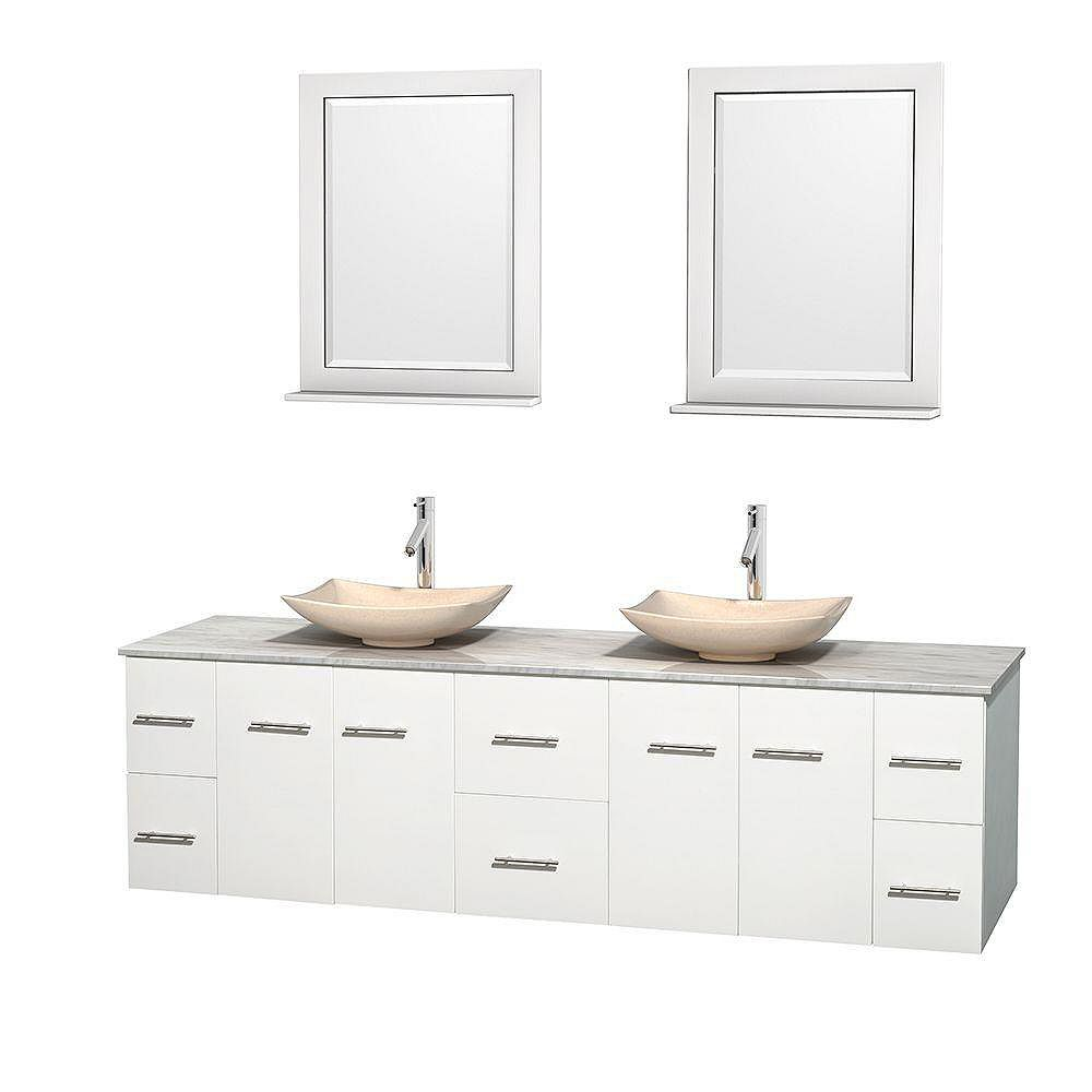 Wyndham Collection Meuble double Centra 80 po. blanc, comptoir blanc Carrare, lavabos ivoire, miroirs 24 po.