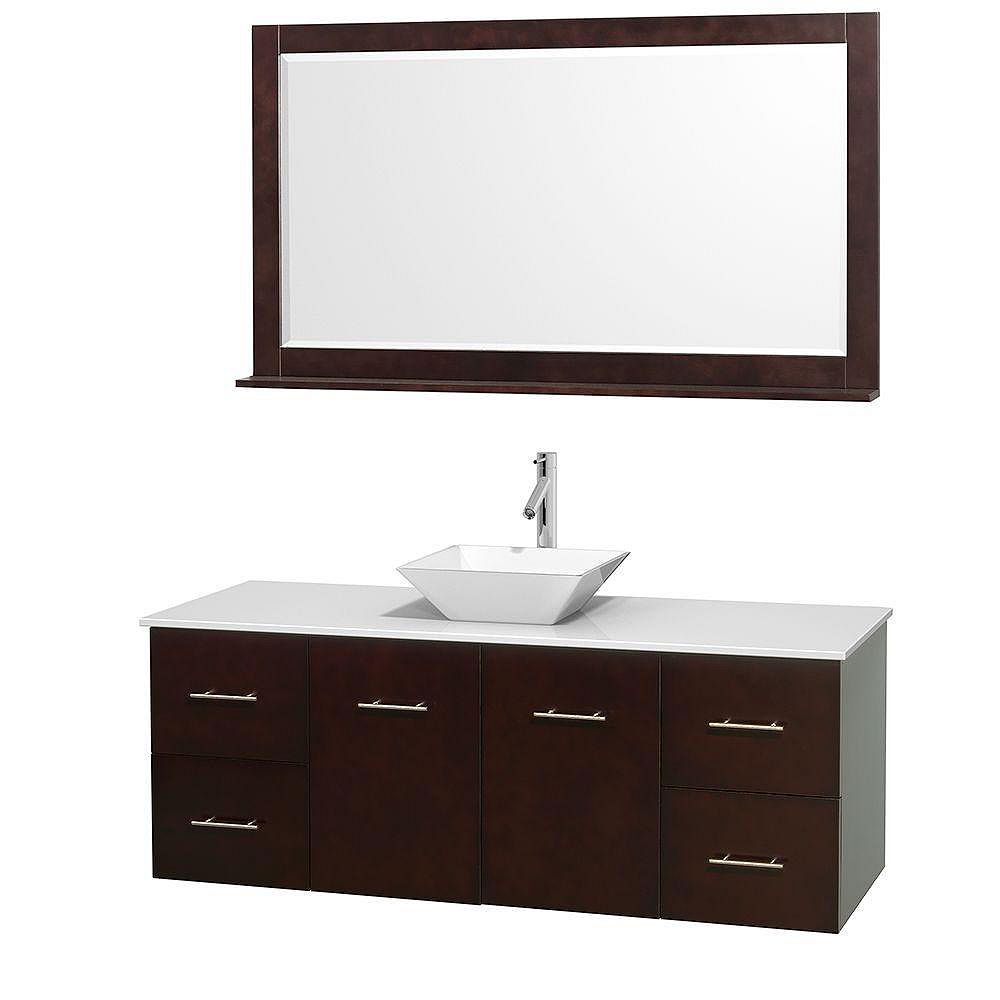 Wyndham Collection Meuble unique Centra 60 po. espresso, comptoir solide, lavabo porcelaine blanche, miroir 58 po.