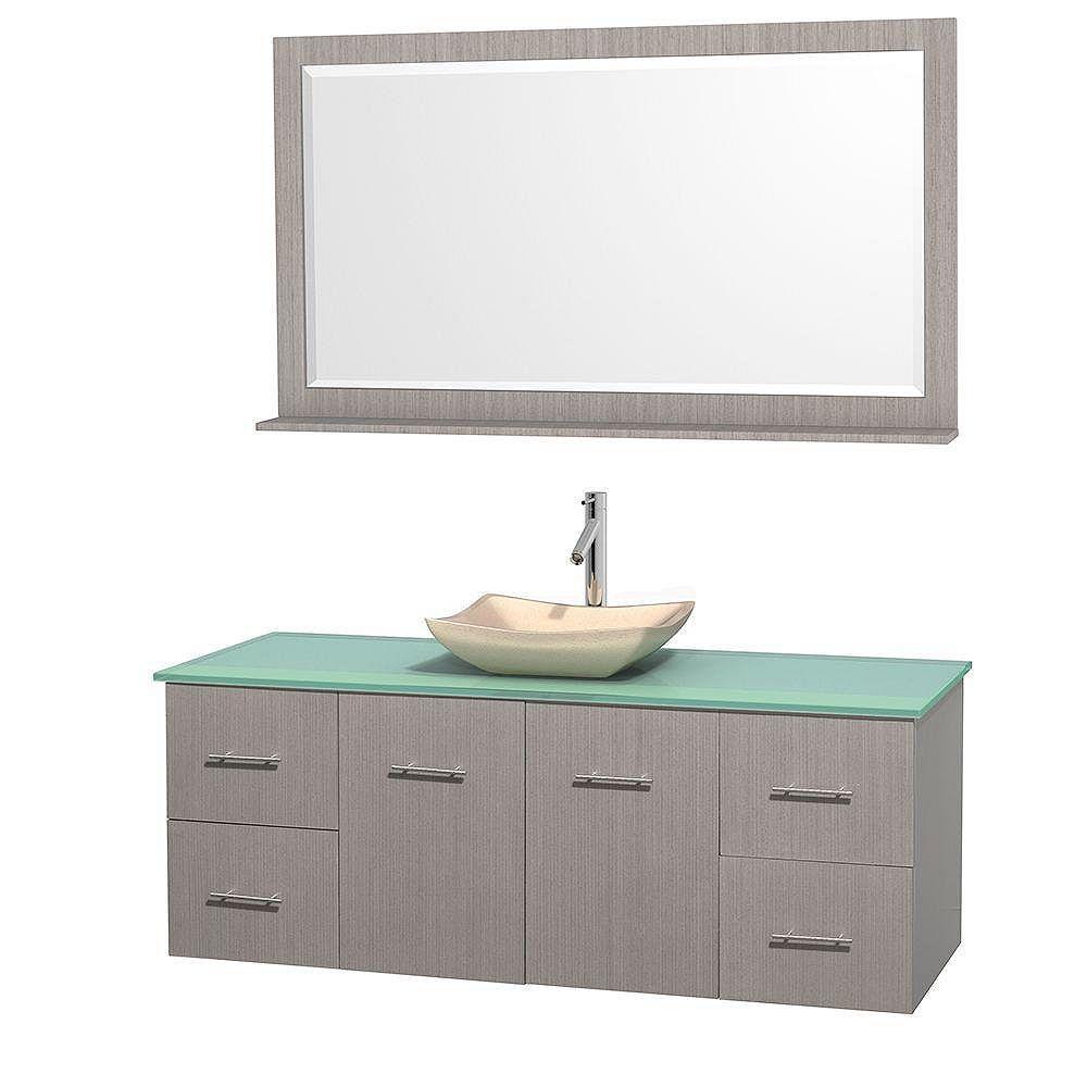 Wyndham Collection Meuble simple Centra 60 po. chêne gris, comptoir verre vert, lavabo ivoire, miroir 58 po.
