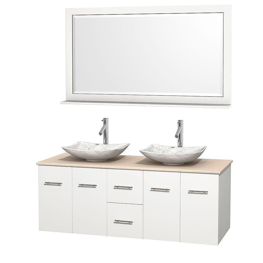 Wyndham Collection Meuble double Centra 60 po. blanc, comptoir marbre ivoire, lavabos blanc Carrare, miroir 58 po.