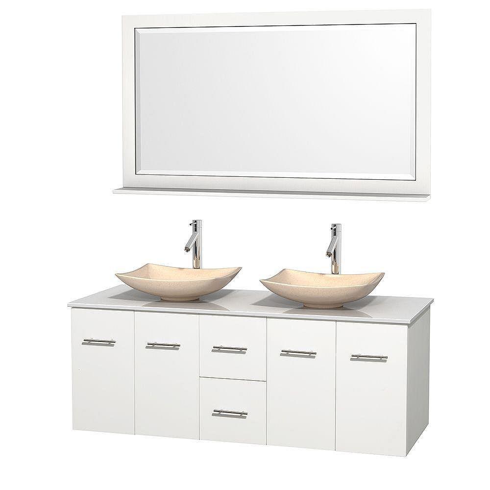 Wyndham Collection Meuble double Centra 60 po. blanc, comptoir solide, lavabos ivoire, miroir 58 po.