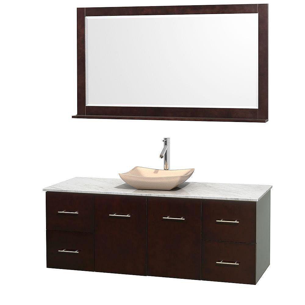 Wyndham Collection Meuble simple Centra 60 po. espresso, comptoir blanc Carrare, lavabo ivoire, miroir 58 po.