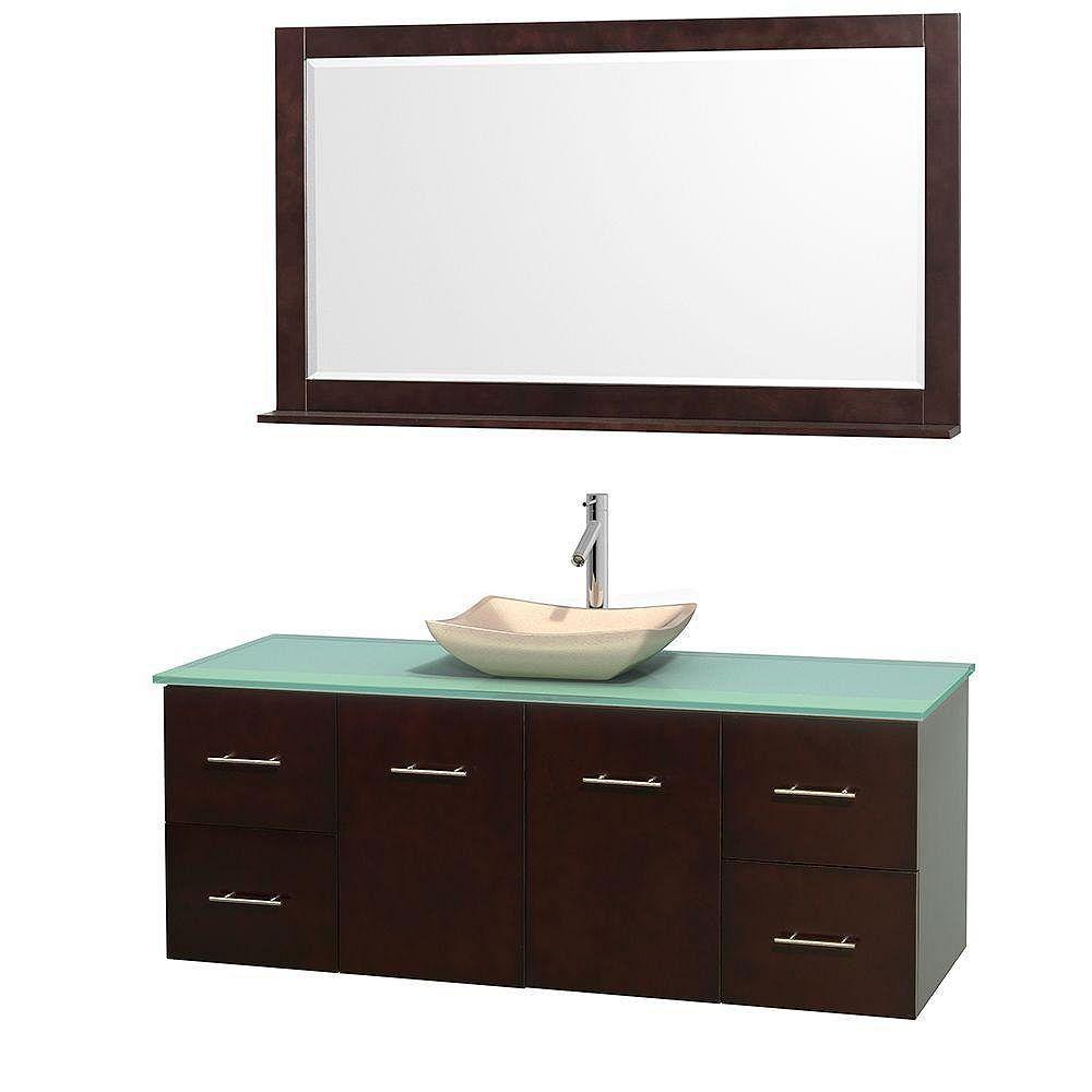 Wyndham Collection Meuble simple Centra 60 po. espresso, comptoir verre vert, lavabo ivoire, miroir 58 po.