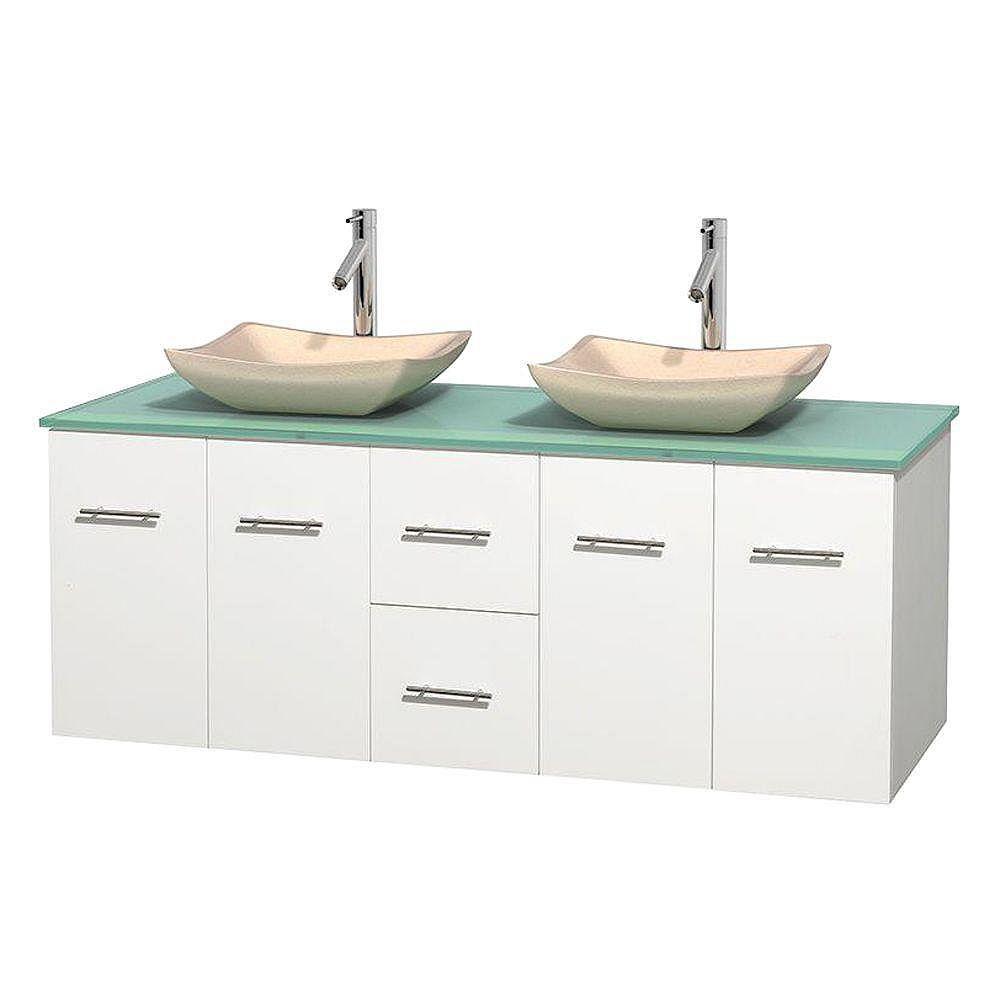 Wyndham Collection Meuble double Centra 60 po. blanc, comptoir verre vert, lavabos ivoire, sans miroir