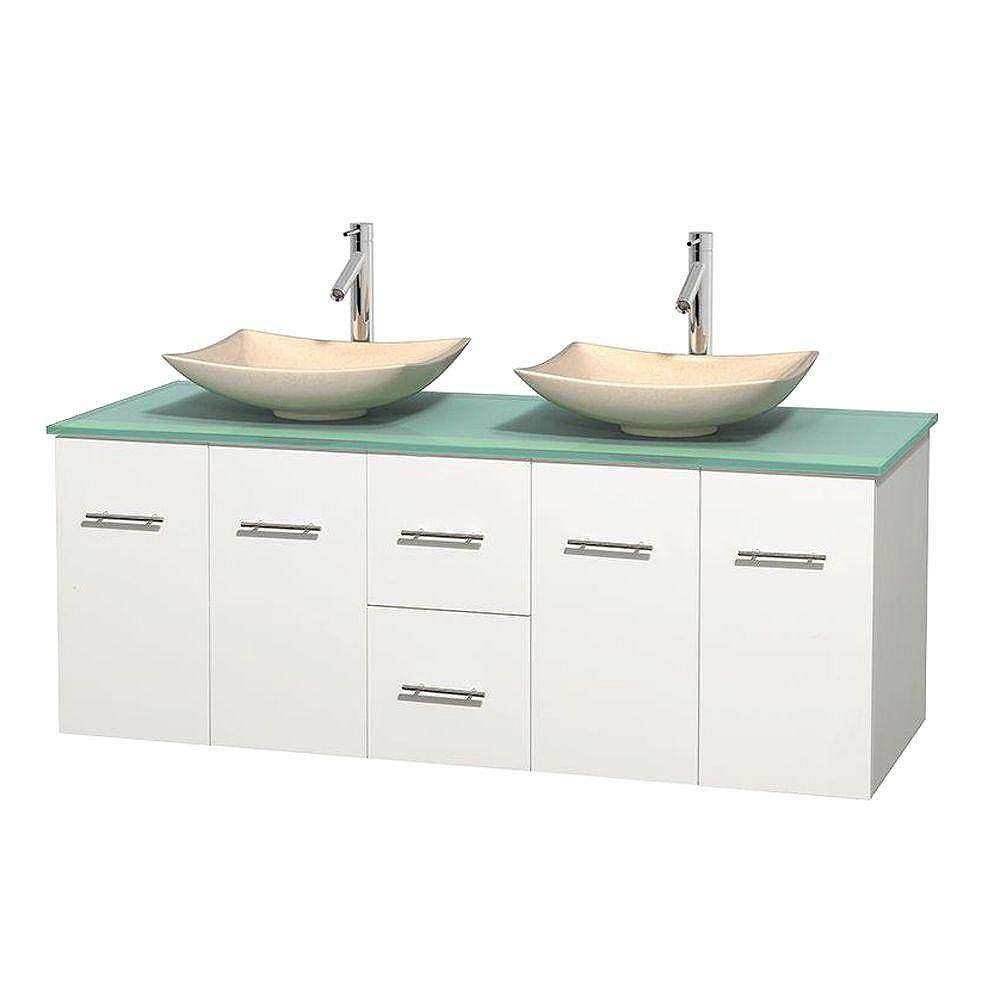 Wyndham Collection Centra 60-inch W 2-Drawer 4-Door Wall Mounted Vanity in White With Top in Green, Double Basins