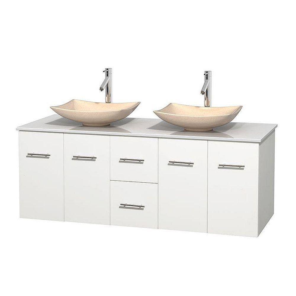 Wyndham Collection Meuble double Centra 60 po. blanc, comptoir solide, lavabos ivoire, sans miroir