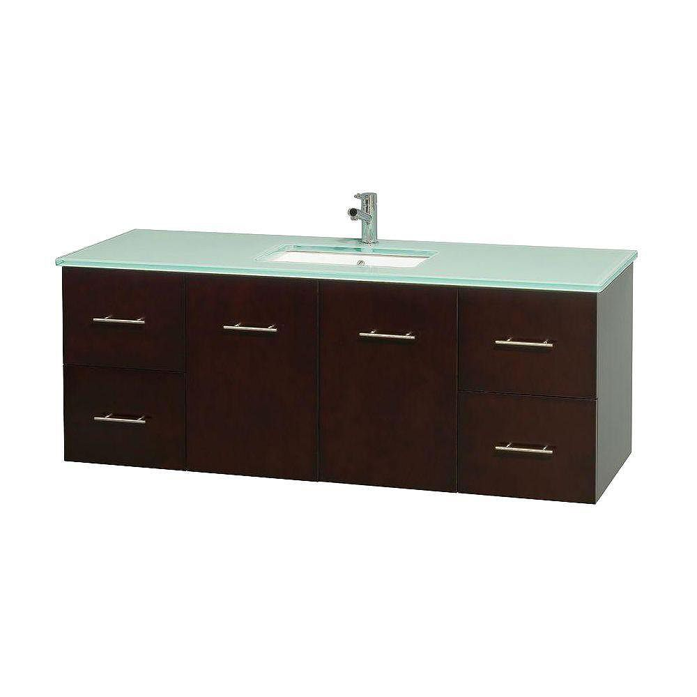 Wyndham Collection Centra 60-inch W 4-Drawer 2-Door Wall Mounted Vanity in Brown With Top in Green