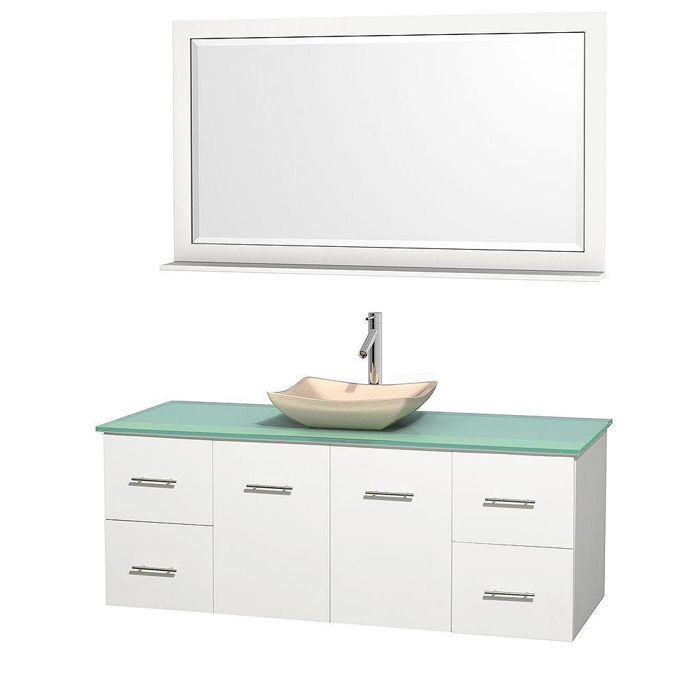 Wyndham Collection Centra 60-inch W 4-Drawer 2-Door Wall Mounted Vanity in White With Top in Green With Mirror