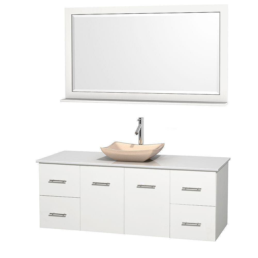 Wyndham Collection Centra 60-inch W 4-Drawer 2-Door Wall Mounted Vanity in White With Artificial Stone Top in White