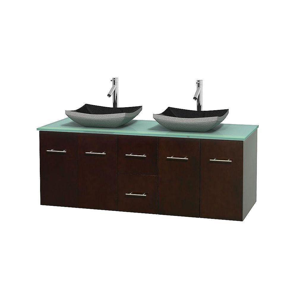 Wyndham Collection Meuble double Centra 60 po. espresso, comptoir verre vert, lavabos granit noir, sans miroir