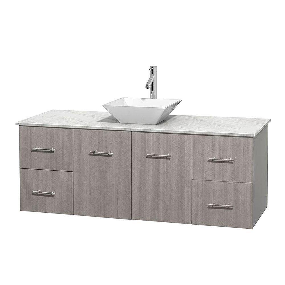 Wyndham Collection Meuble unique Centra 60 po. chêne gris, comptoir blanc Carrare, lavabo porcelaine blanche sans miroir