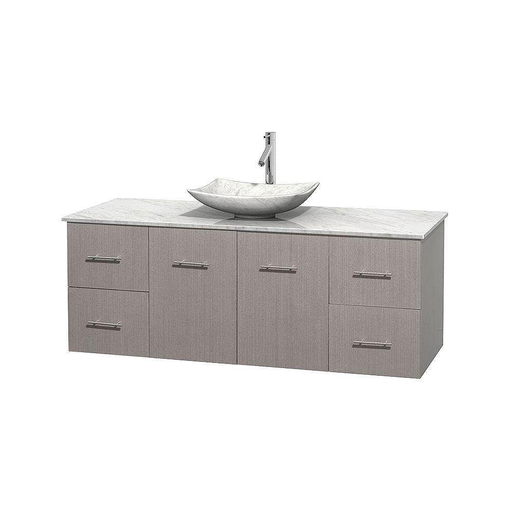 Wyndham Collection Meuble simple Centra 60 po. chêne gris, comptoir blanc Carrare, lavabo blanc Carrare, sans miroir