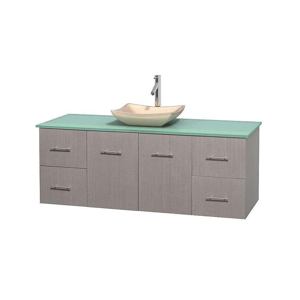 Wyndham Collection Meuble simple Centra 60 po. chêne gris, comptoir verre vert, lavabo ivoire, sans miroir