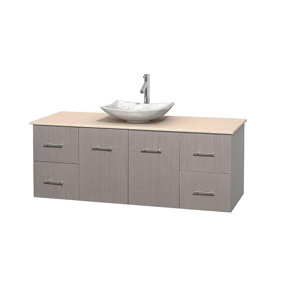 Wyndham Collection Meuble simple Centra 60 po. chêne gris, comptoir marbre ivoire, lavabo blanc Carrare, sans miroir