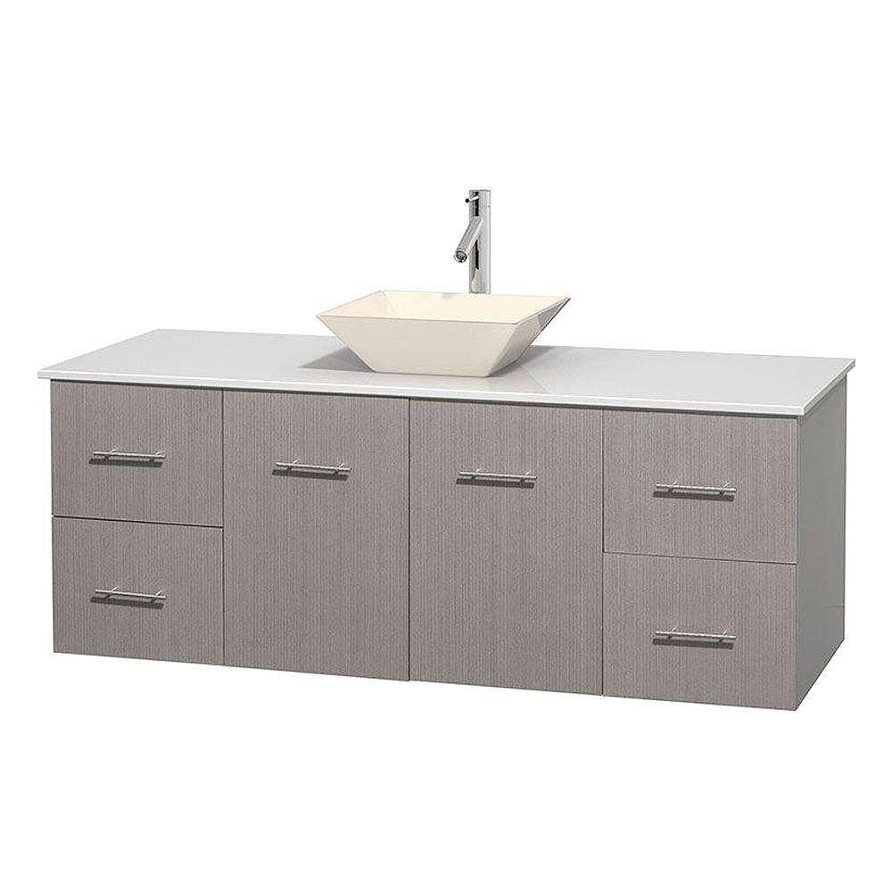 Wyndham Collection Meuble unique Centra 60 po. chêne gris, comptoir solide, lavabo porcelaine bone sans miroir