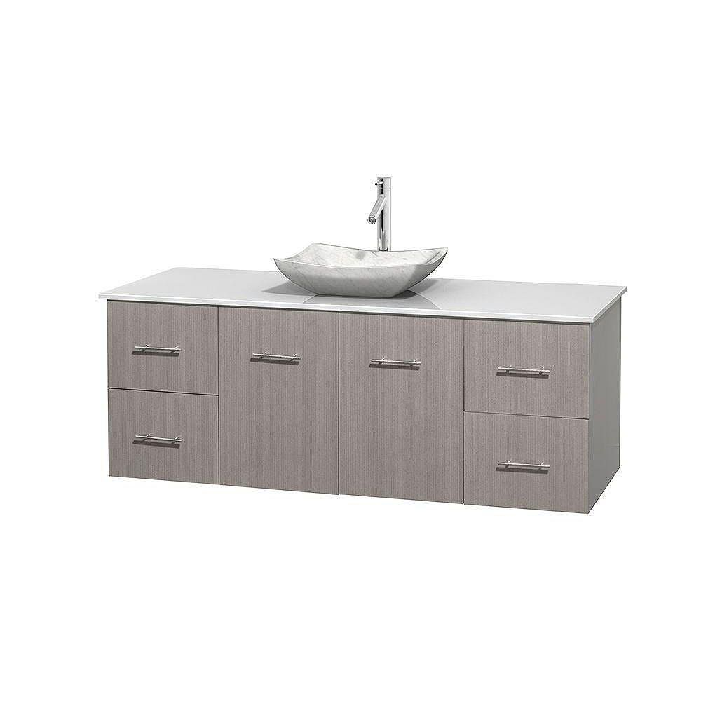 Wyndham Collection Centra 60-inch W 4-Drawer 2-Door Wall Mounted Vanity in Grey With Artificial Stone Top in White