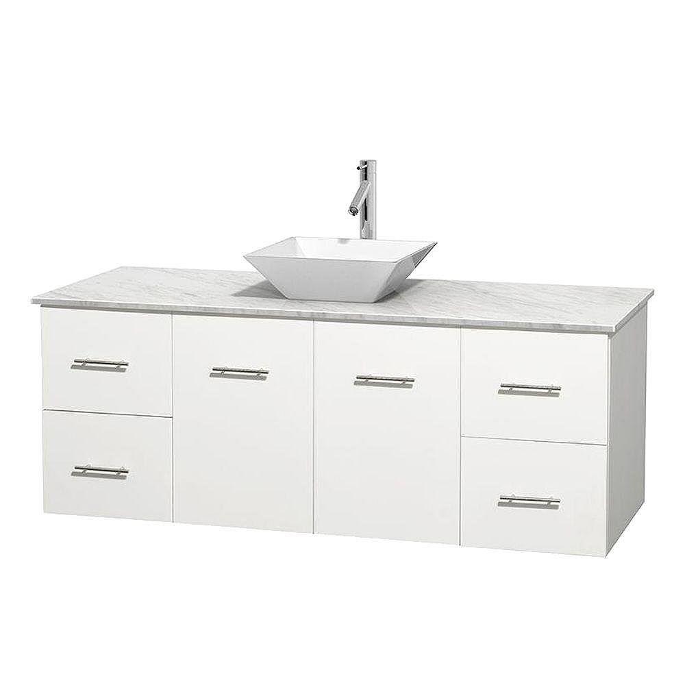 Wyndham Collection Meuble unique Centra 60 po. blanc, comptoir blanc Carrare, lavabo porcelaine blanche sans miroir