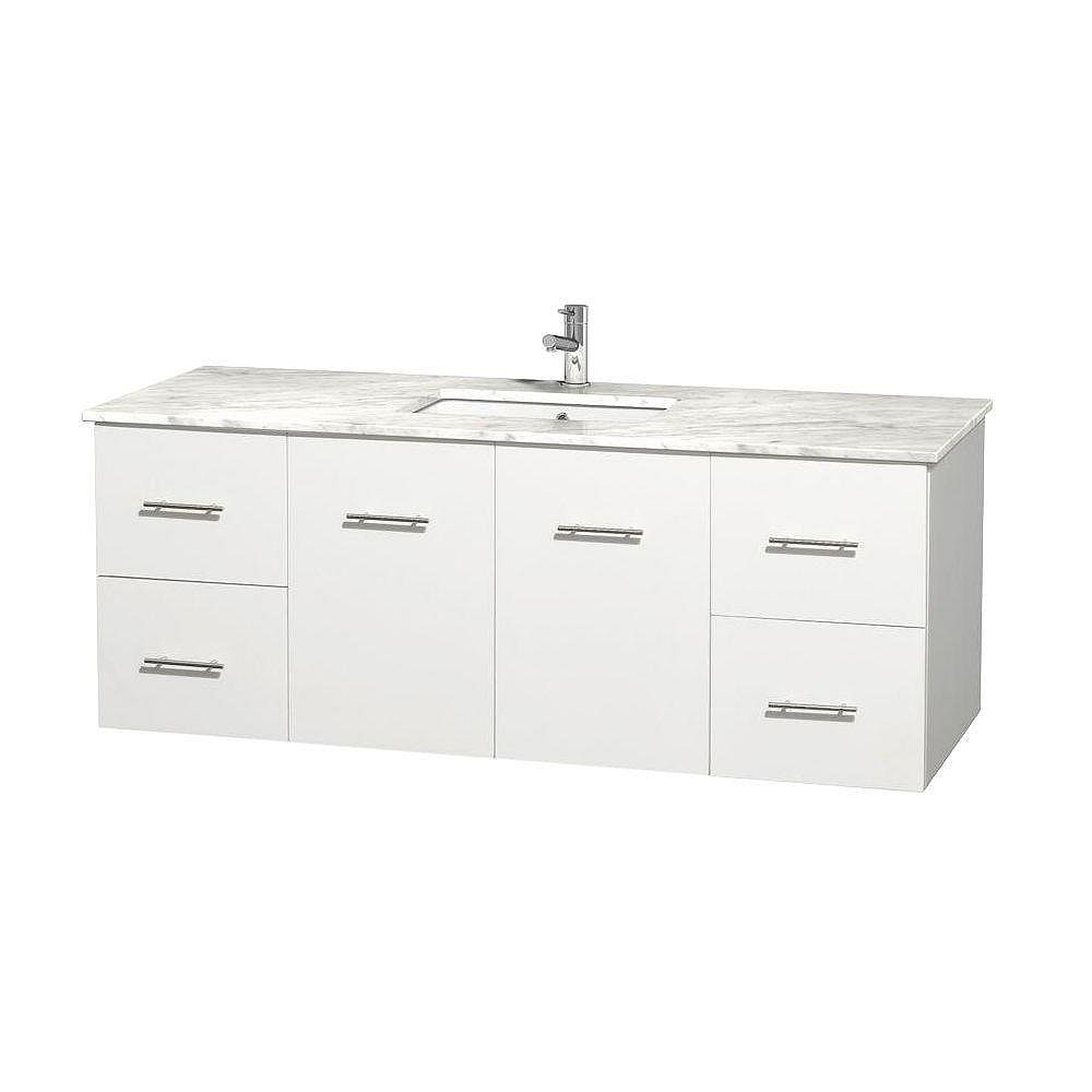 Wyndham Collection Centra 60-inch W 4-Drawer 2-Door Wall Mounted Vanity in White With Marble Top in White